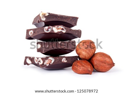 chocolate with nuts closeup