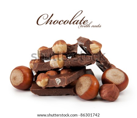 Chocolate with nuts is isolated on a white background