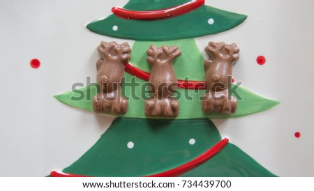 chocolate xmas reindeer on xmas plate for background  #734439700