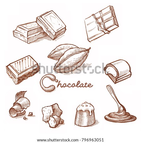 Chocolates. Hand drawn sketch sweets, caramel, candy, chocolate.