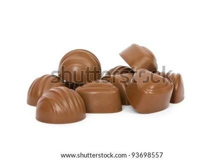 Chocolates heap against a white background