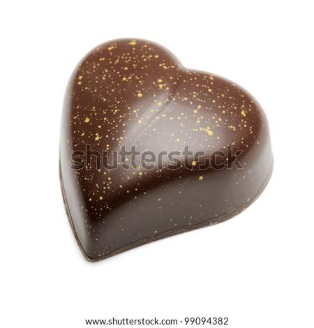chocolates heart-shaped, isolated on white