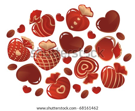 Chocolates in the form of hearts on a white background