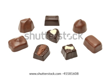 Chocolates isolated on a white