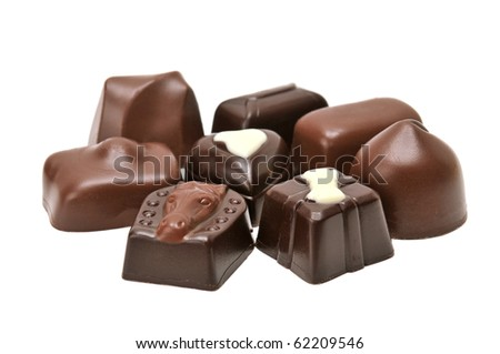 Chocolates isolated on a white background