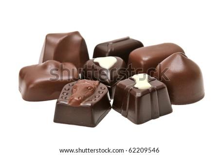 Chocolates isolated on a white background