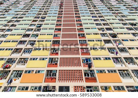 Shutterstock Choi Hung, iconic colorful building in hong Kong