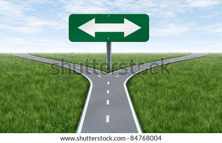 Choice and choosing a direction in life or business using the road metaphor and highway sign with a fork shaped traffic lane showing the concept of dilemma and selecting the right option.