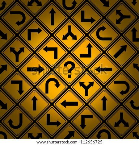 Choice and confusion as a strategy or path in a business or life management concept with confusing different yellow direction street signs pattern as dilemma questions for solutions and success.
