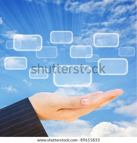 Choice button on hand and sky background