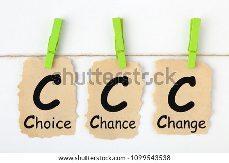 Choice Chance Change- CCC written on old torn paper with clip hanging on white background. Step by Step Concept. #1099543538