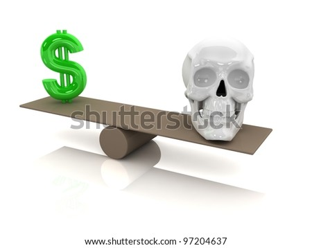 Choice concept. Dollar sign and skull