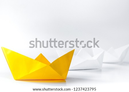 choice concept paper boats on white background #1237423795