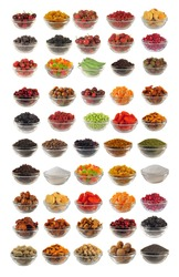 Choice dry food to utensils on a white background