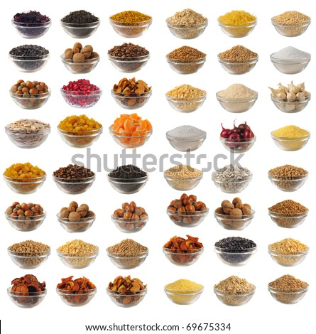 Choice dry food to utensils on a white background #69675334