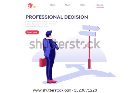 Choice process flat illustration. Direction choose options, solution, decision. Abstract confuse concept, confusion symbol. Making person, visualization of professional life. Arrow and question