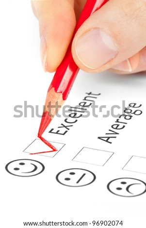 choice questionnaire checkbox on customer service satisfaction survey form