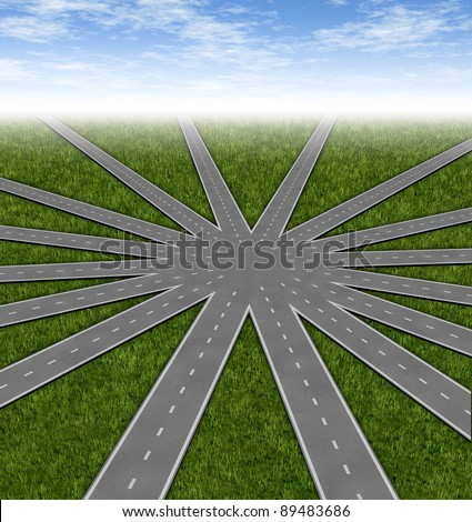 Choices and strategies symbol represented by a network of roads and highways merging to a center point as many options and paths available with multiple paths to a unified strategy.