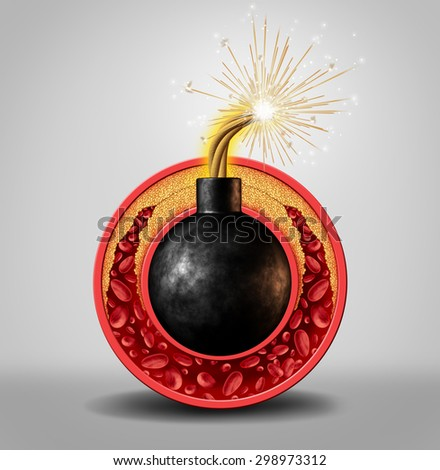 Cholesterol time bomb and coronary artery disease danger as a medical concept with an ignited bomb inside a circular vein with gradual plaque formation as clogged arteries and atherosclerosis.