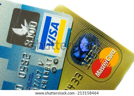 Chonburi Thailand August 23 2014 Close Up old and new Logo on Credit Cards issued by the VISA and Master Card