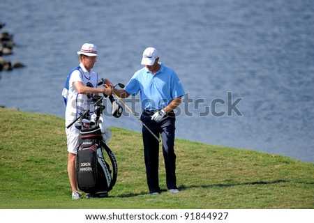 CHONBURI,THAILAND - DECEMBER 15: Soren HANSEN of DENMARK plays a shot during day one of the Thailand Golf Championship at Amata Spring Country Club on December 15, 2011 in Chonburi, Thailand.