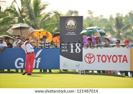 CHONBURI, THAILAND - DECEMBER 8 : Tetsuji Hiratsuka in action during The Golf Championship Thailand Round 3 at Ammata Spring Country Club on December 8, 2012 in Chonburi, Thailand. - stock photo
