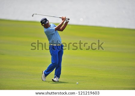 CHONBURI, THAILAND - DECEMBER 8 :  Unidentified Athlete in action at the Golf Championship Thailand tournament, Asia vs Europe at Amata Spring December 8, 2012 in Bangkok, Thailand.