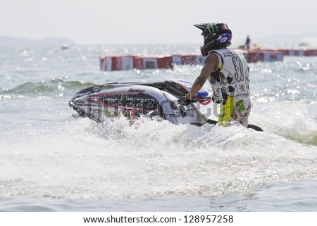 CHONBURI, THAILAND-DECEMBER 8: Unidentified Jet Ski driver in action during Jet Ski King's Cup - World Cup Grand Prix 2012 at Jomtien Beach Pattaya on December 8, 2012 in Chonburi, Thailand