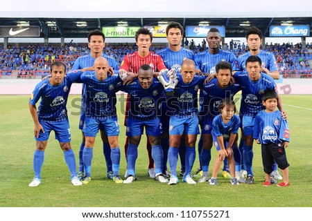 CHONBURI,THAILAND-14 JULY:Player of Chonburi fc.post for a photo during Thai Premier League between Chonburi fc.and Samut Songkhram fc.at Chonburi Stadium on July 14,2012 in Thailand