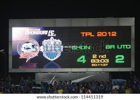 CHONBURI,THAILAND-SEPTEMBER11:Unidentified Scoreboard of Chonburi Stadium during the Thai Premier League between Chonburi fc.and Buriram Utd.at Chonburi Stadium on Sep11,2012 in Chonburi,Thailand