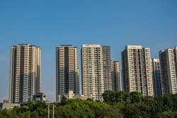 Chongqing, China -  August 2019 :  Highrise hillside residential apartments and buildings