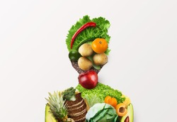 Choose healthy food for your organism. Woman of fresh vegetables, fruits and whole grain products on white background