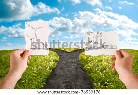 Choose the alternative energy source, wind or nuclear - stock photo