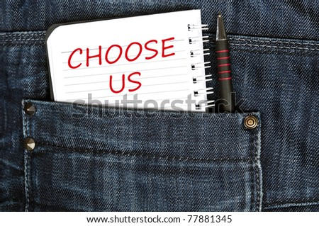 Choose us message on notepad