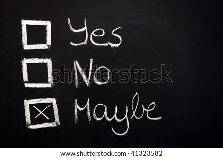 choose yes or no written on a chalkboard