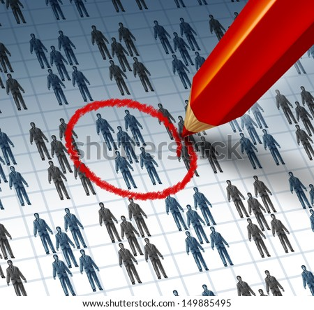 Choosing a team as a red pencil highlighting a drawing of a group of business people as a teamwork symbol of selecting the best social network for internet marketing and communication success.