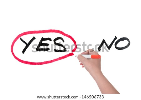 Choosing from yes and no concept, hand writing on white board