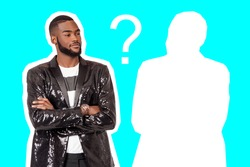 Choosing man. Question mark next to a man. Collage on topic of choosing friends or partners. African American is thinking about choosing a business partner. Black guy on a blue background.