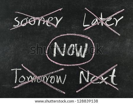 choosing now written on blackboard