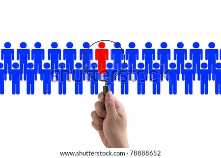 Choosing the Right Person employee for business recruitment - stock photo