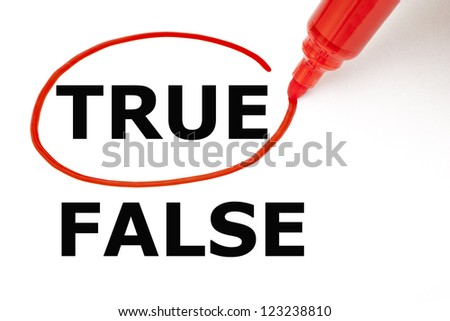 Choosing True instead of False. True selected with red marker. ストックフォト ©