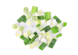 Chopped green japanese bunching onion isolated on white background. Top view