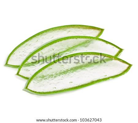 chopped leaves aloe vera isolated on white background
