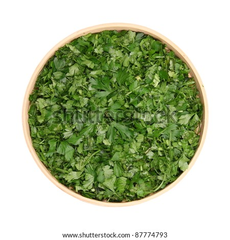 chopped leaves of fresh herbs, parsley, dill, cilantro, basil, in dereyannoy bowl isolated white background #87774793