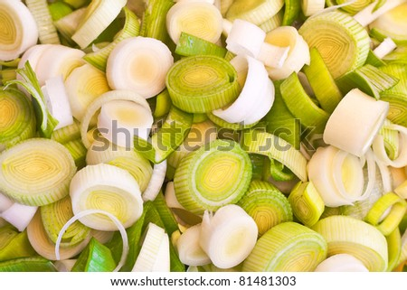 Chopped leeks as a detailed background