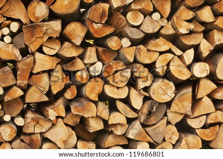 chopped logs for winter fire