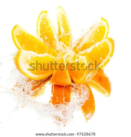 Chopped orange in water splash
