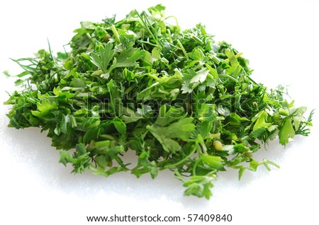 chopped parsley and dill #57409840