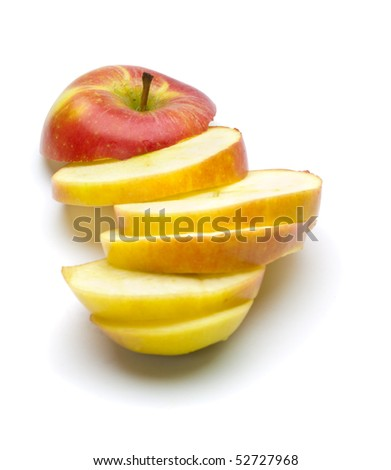 Chopped red apple on the white background