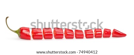 Chopped red chilli pepper over white background